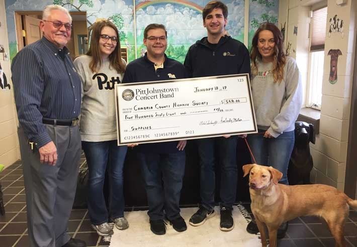 Pitt-Johnstown Concert Band presented the Cambria County Humane Society with a check for $568
