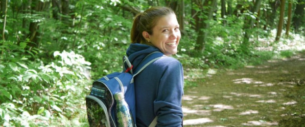 Jill Henning, an assistant professor at University of Pittsburgh, Johnstown, has a backpack full of supplies to deal with ticks. Photo by Kara Holsopple