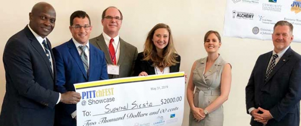 Laura Johnson and her cooling sleep device Supernal Siesta won first place in the Student Entrepreneurship 6th annual PITTchFEST as part of Showcase for Commerce at the 1st Summit Arena @ Cambria County War Memorial.