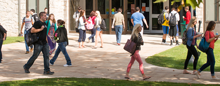 students walking around on campus